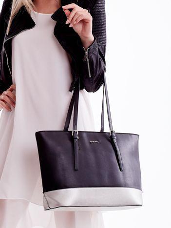 Czarna torba shopper bag ze srebrnym wykończeniem