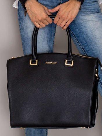 Czarna torba shopper bag ze złotymi okuciami