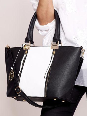 Czarna torba shopper z białą wstawką