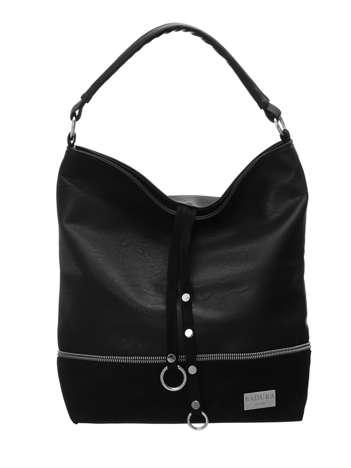 Czarna torba shopper z ekoskóry BADURA