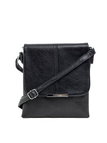 Czarna torba z ekoskóry z klapką