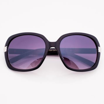 Czarne Damskie Okulary Przeciwsłoneczne Ze Srebrnym Zdobieniem