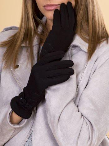 Czarne Rękawiczki Damskie Z Kokardą i Zdobieniami