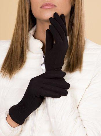 Czarne Rękawiczki Damskie Ze Zdobieniem