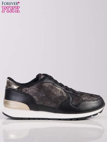 Czarne buty sportowe textile Magnate z wstawką z efektem rybiej łuski