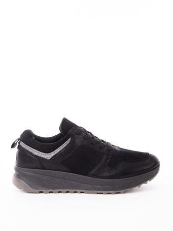 Czarne buty sportowe z brokatową wstawka wokół cholewki