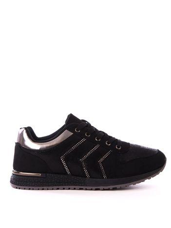 Czarne buty sportowe z efektem rybiej łuski