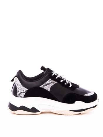 Czarne buty sportowe z elastyczną podeszwą  wężowymi stawkami i kolorowymi sznurówkami