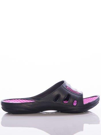 Czarne damskie klapki basenowe Mc Keylor z ażurową cholewką i różową wkładką z wypustkami