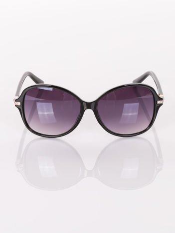 Czarne eleganckie okulary przeciwsłoneczne ze złotymi wstawkami z cyrkoniami