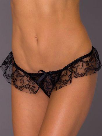 Czarne koronkowe majtki stringi erotyczne z falbaną