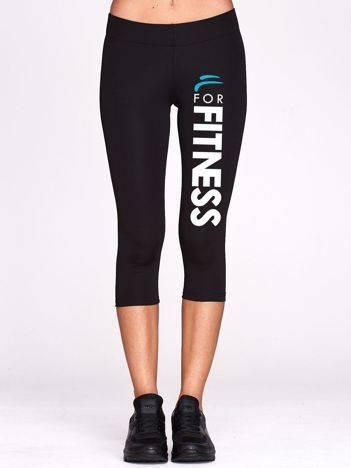 Czarne krótkie legginsy sportowe z napisem FOR FITNESS