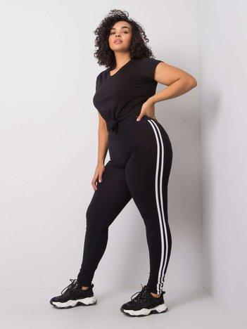 Czarne legginsy bawełniane plus size Millie