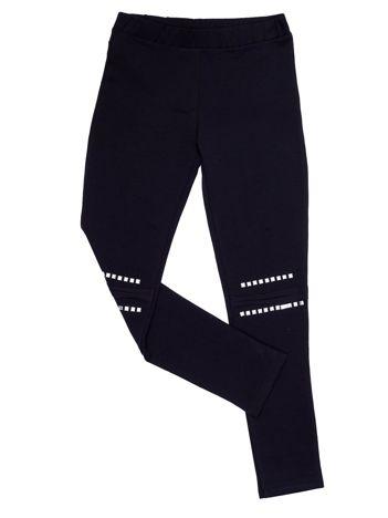 Czarne legginsy dla dziewczynki z aplikacją na kolanach