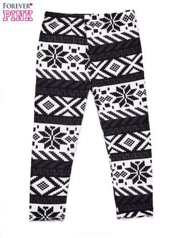 Czarne legginsy dziewczęce z norweskim motywem