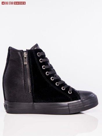 Czarne materiałowe sneakersy BIG STAR z łączoną fakturą materiałową i suwakiem na boku