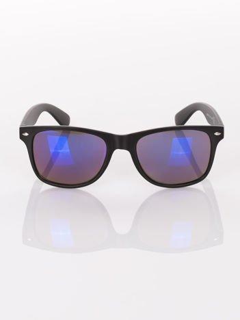 Czarne okulary przeciwsłoneczne WAYFARER lustrzanki niebieskie