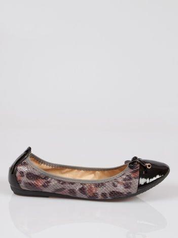 Czarne panterkowe balerinki faux leather Wild na gumkę