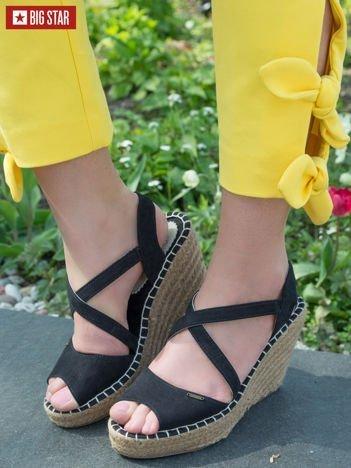 Czarne sandały Big Star na koturnach