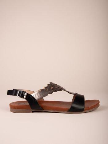 Czarne sandały Kylie z błyszczącym ażurowym przodem