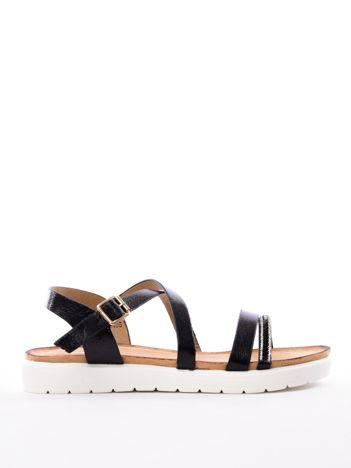 Czarne sandały SABATINA z biżuteryjnym paskiem