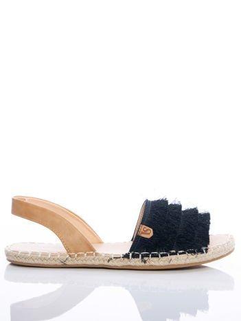Czarne sandały z ozdobnym frędzelkowym przodem