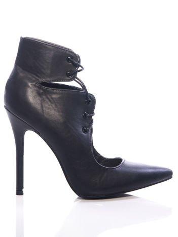 Czarne skórzane sznurowane botki faux leather Isoldecut out lace up