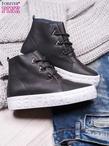 Czarne sneakersy za kostkę Ally z surowym wykończeniem