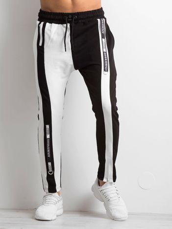 Czarne spodnie dresowe męskie ze wstawkami