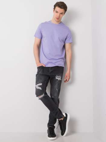 Czarne spodnie jeansowe męskie z dziurami Blake