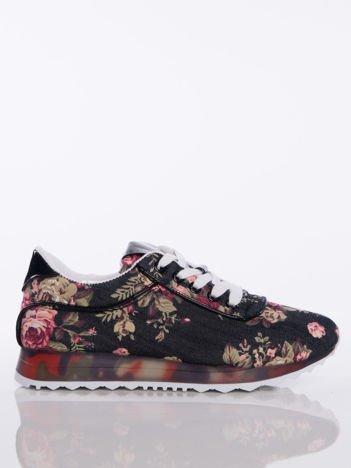 Czarne sprotowe buty z motywem w kwiaty na sprężystej kolorowej podeszwie