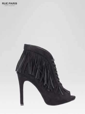 Czarne sznurowane botki faux suede Lea open toe z frędzlami