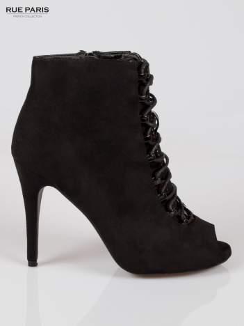 Czarne sznurowane botki faux suede Trish open toe