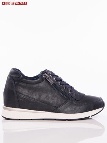 Czarne sznurowane buty sportowe BIG STAR na sprężystej podeszwie ze srebrną wstawką