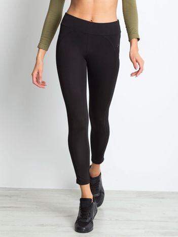 Czarne termoaktywne legginsy do biegania z błyszczącymi lampasami ♦ Performance RUN