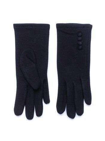 Czarne zimowe rękawiczki damskie z guzikami