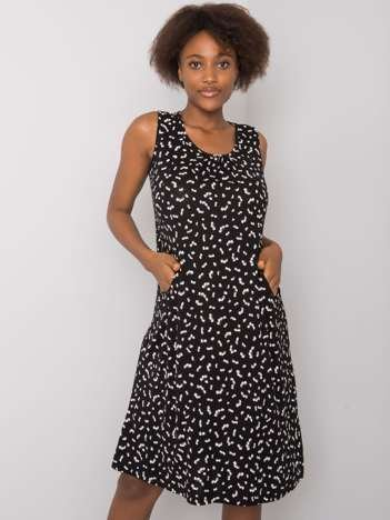 Czarno-biała wzorzysta sukienka Ishita