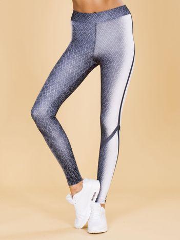 Czarno-białe legginsy w geometryczne wzory