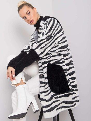 Czarno-biały płaszcz alpaka Yvett