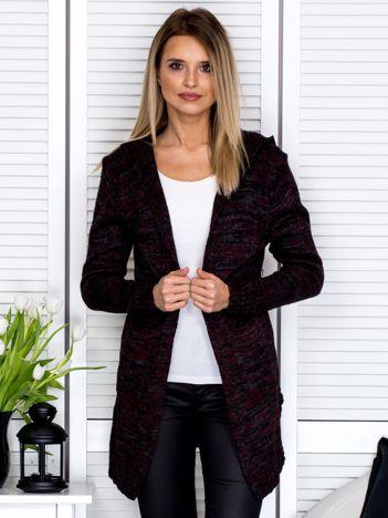 Czarno-bordowy sweter damski z kapturem