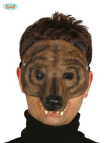 Czarno-brązowa lateksowa maska niedźwiedzia