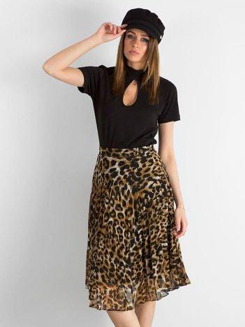 Czarno-brązowa plisowana spódnica w panterkę
