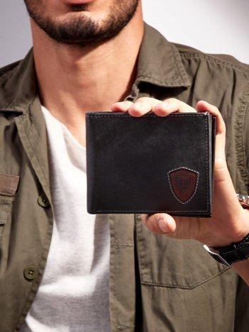 Czarno-brązowy portfel męski ze skóry naturalnej