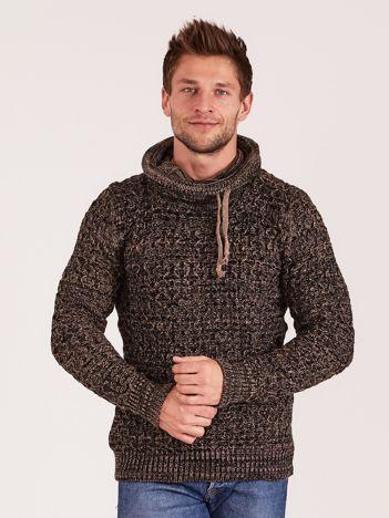Czarno-brązowy sweter męski