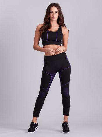 Czarno-fioletowy komplet sportowy damski top i legginsy