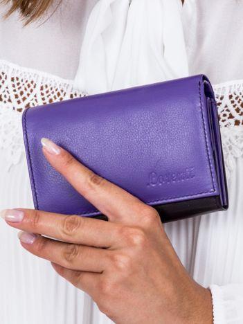 Czarno-fioletowy skórzany portfel damski