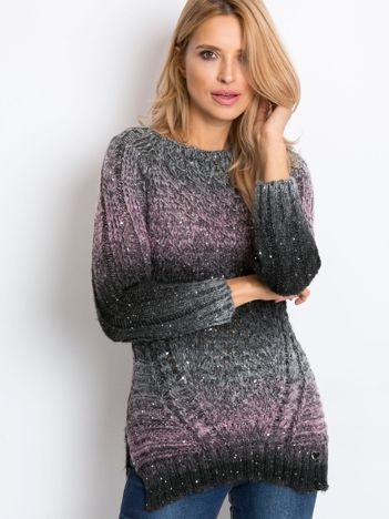 Czarno-fioletowy sweter Charmy
