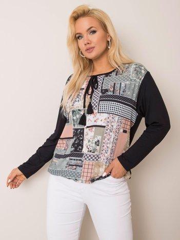Czarno-khaki bluzka plus size Peyton
