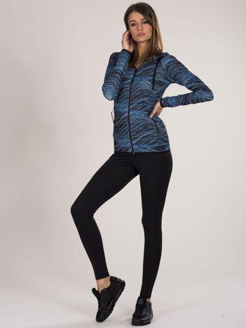 Czarno-niebieski dwuczęściowy damski komplet fitness