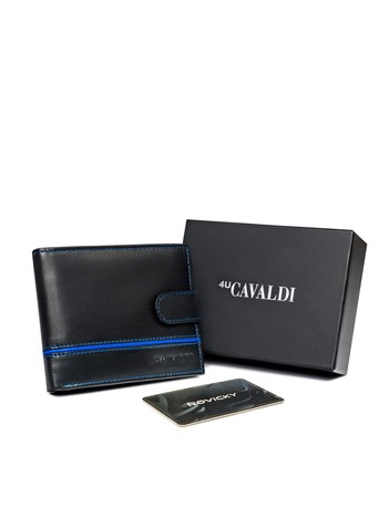 Czarno-niebieski męski portfel skórzany